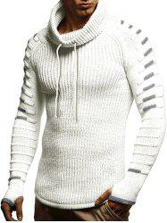 Raglan Sleeve Finger Hole Contrast Color Cowl Neck Sweater -
