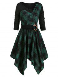 Plaid Asymmetrical Belted  Dress -