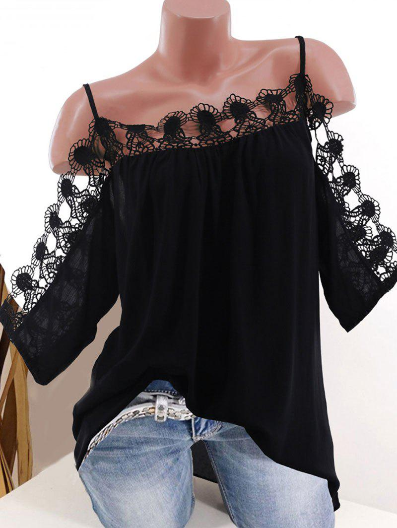 Plus Size Cold Shoulder Lace Yoke Blouse, Black