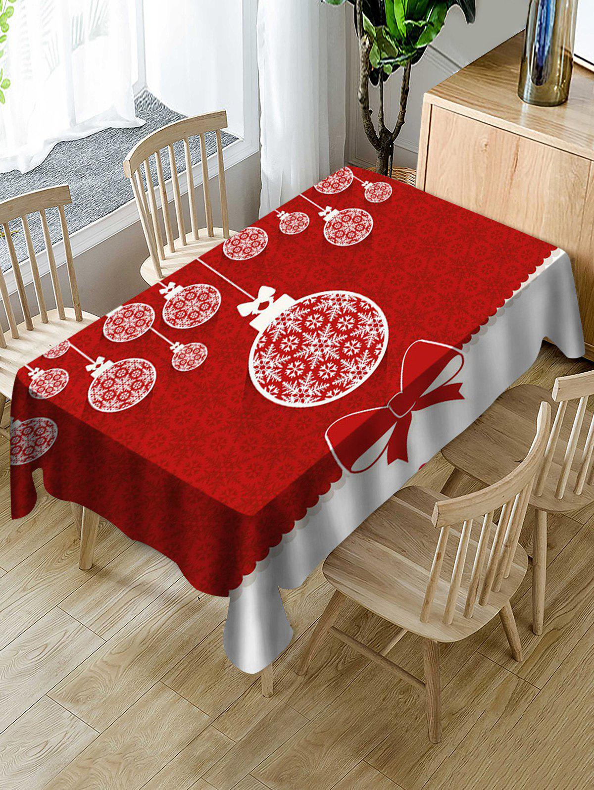 Fashion Christmas Snowflake Ball Print Fabric Waterproof Tablecloth