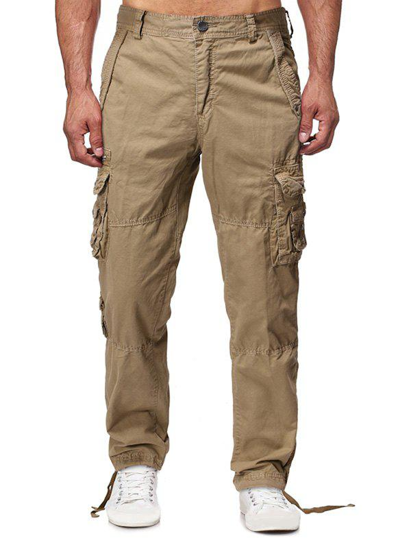 Buy Solid Flap Pocket Long Straight Cargo Pants