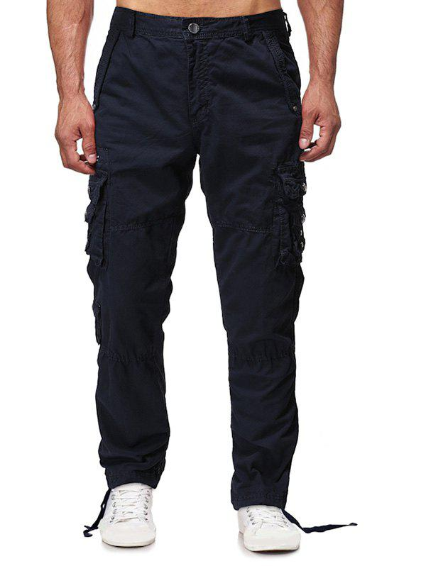 Discount Solid Flap Pocket Long Straight Cargo Pants