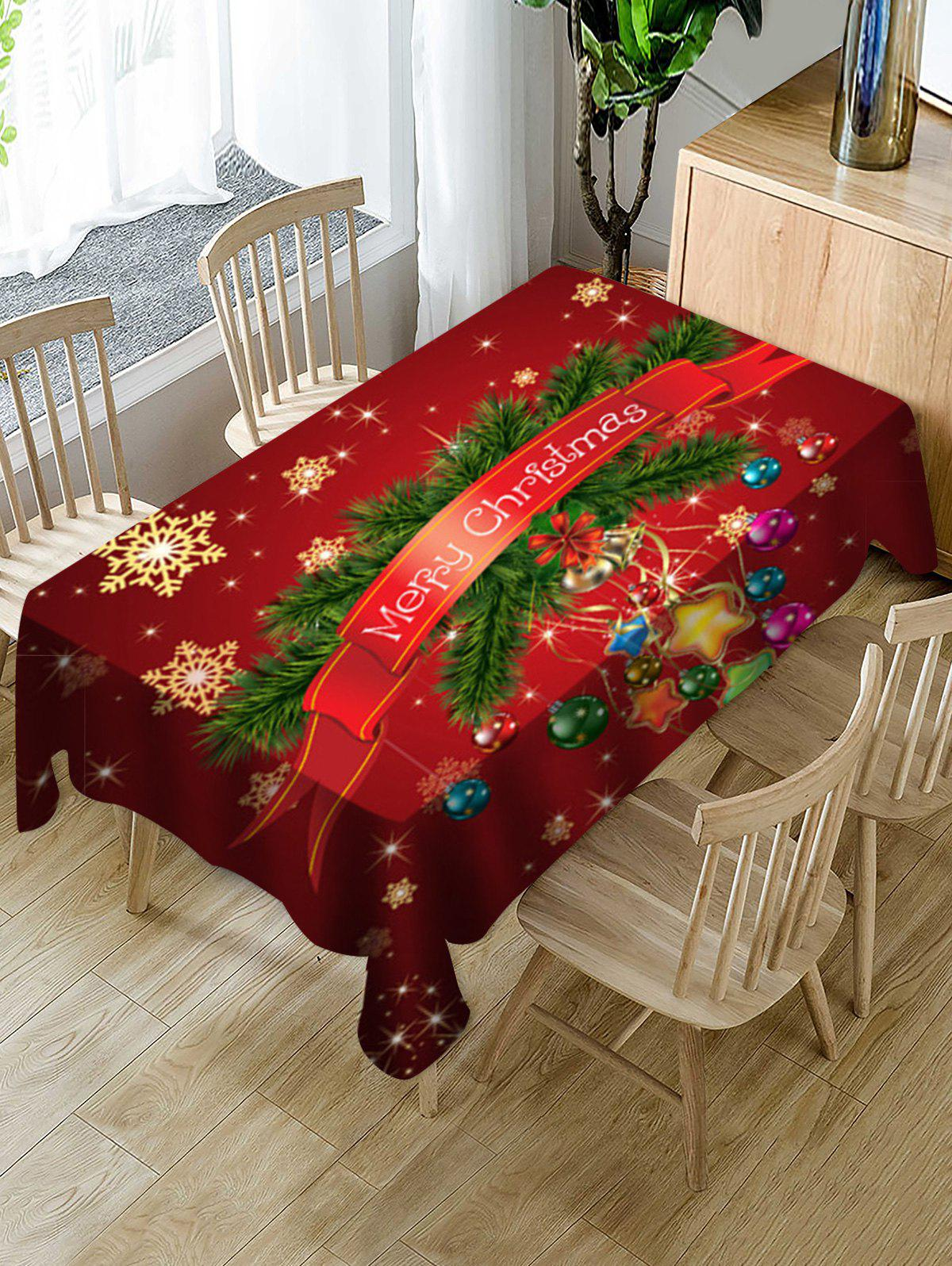 Buy Merry Christmas Snowflake Print Fabric Waterproof Tablecloth
