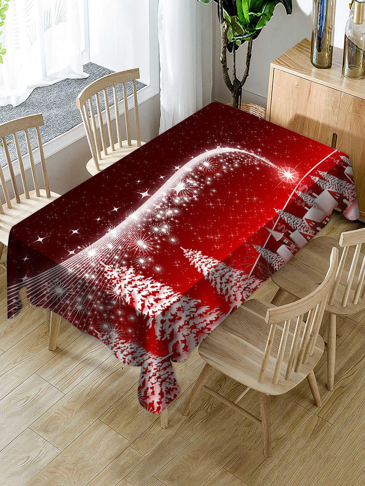 Online Christmas Tree Village Print Fabric Waterproof Tablecloth