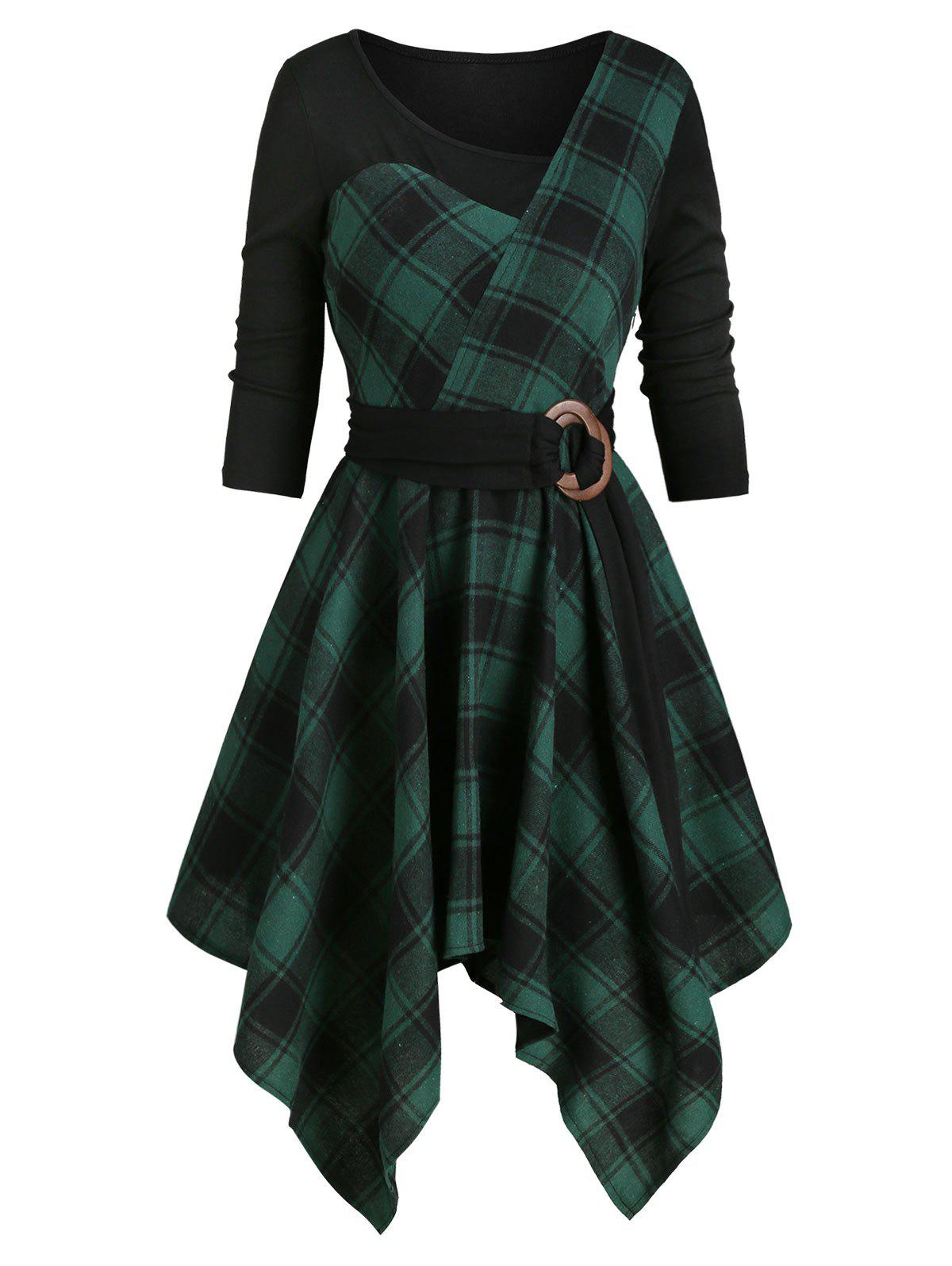 Latest Plaid Asymmetrical Belted  Dress