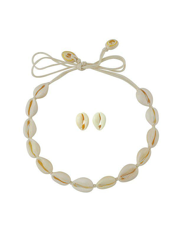 Store Beach Shell Cord Necklace Stud Earrings Set