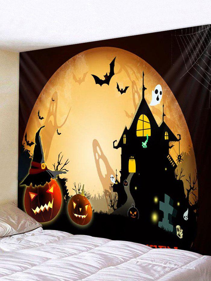 Fancy Halloween Pumpkins Castle Bat Ghost Pattern Tapestry
