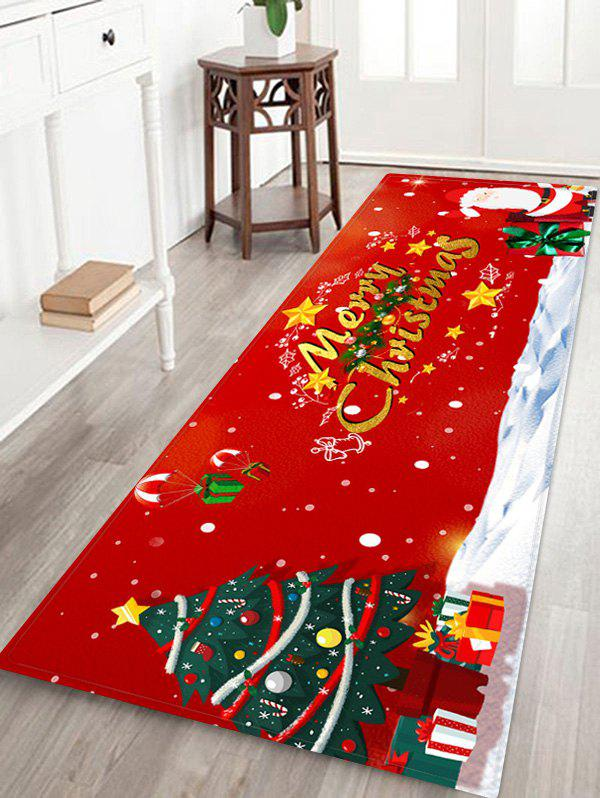 Chic Merry Christmas Tree Santa Claus Print Floor Rug