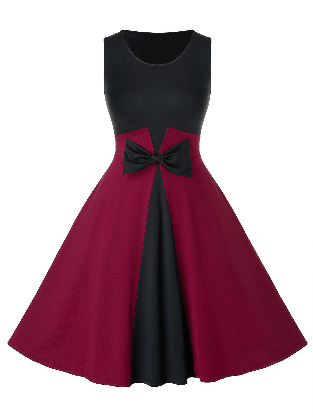 Plus Size Vintage bowknot Colorblock Dress Swing Noir 5X