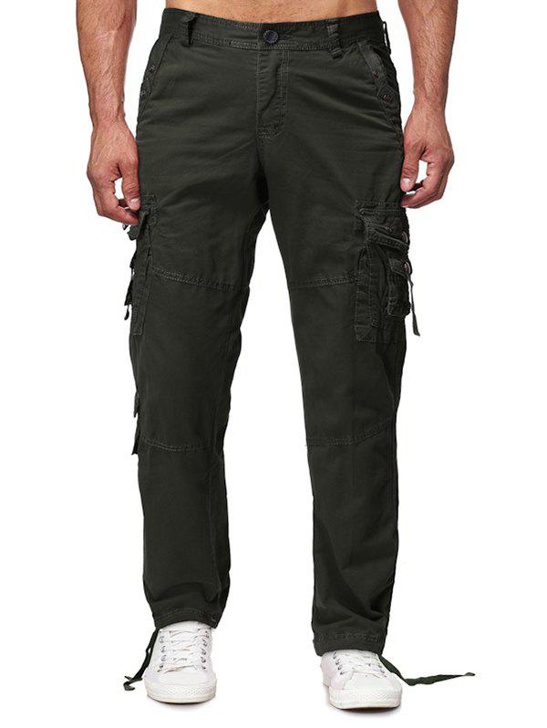 Sale Long Straight Solid Flap Pocket Cargo Pants