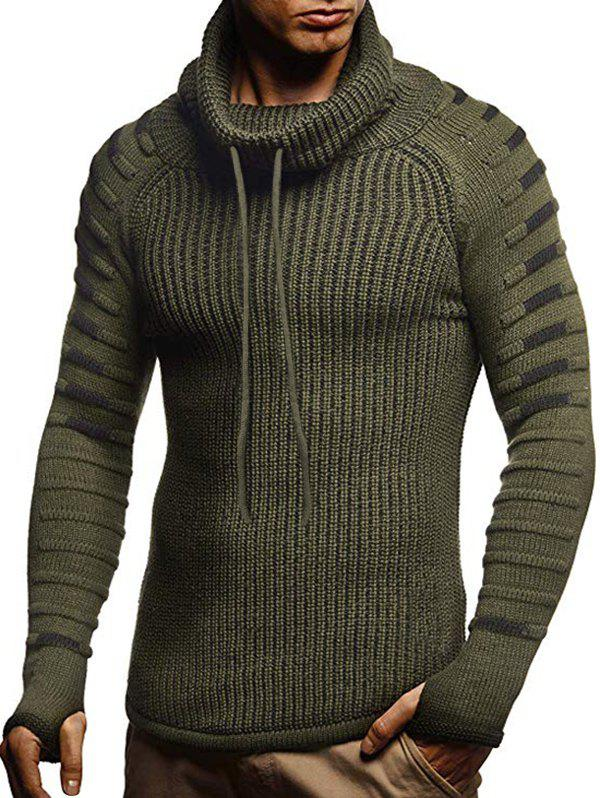 New Raglan Sleeve Finger Hole Contrast Color Cowl Neck Sweater