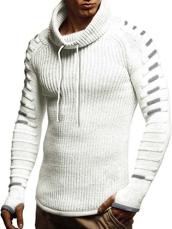 Fashion Raglan Sleeve Finger Hole Contrast Color Cowl Neck Sweater