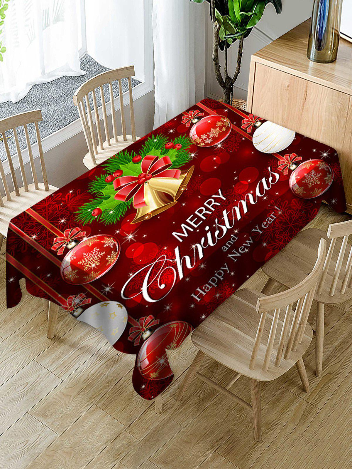 Hot Merry Christmas Bell Ball Fabric Waterproof Table Cloth