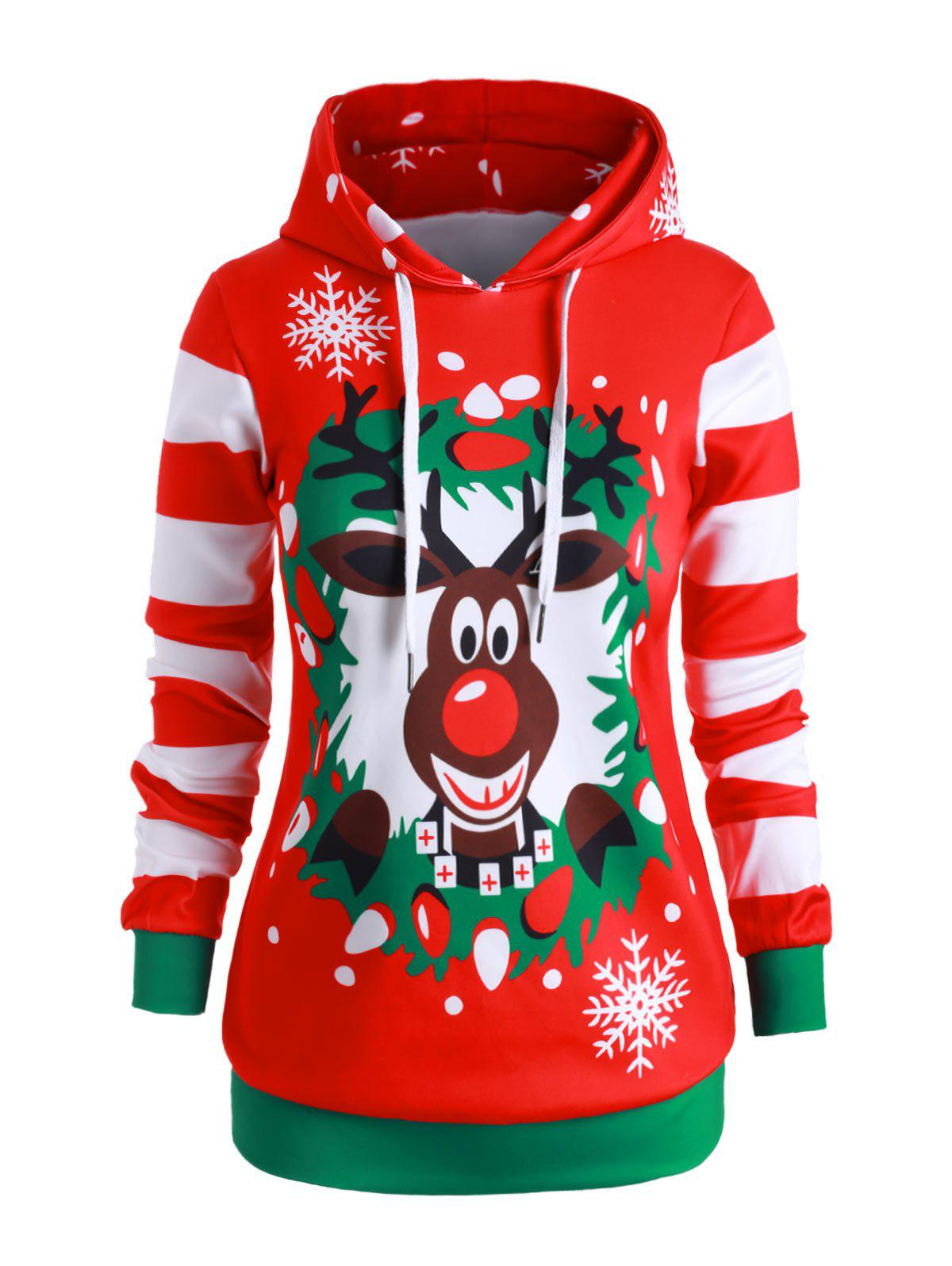 Store Plus Size Elk Striped Christmas Snowflake Drawstring Hoodie