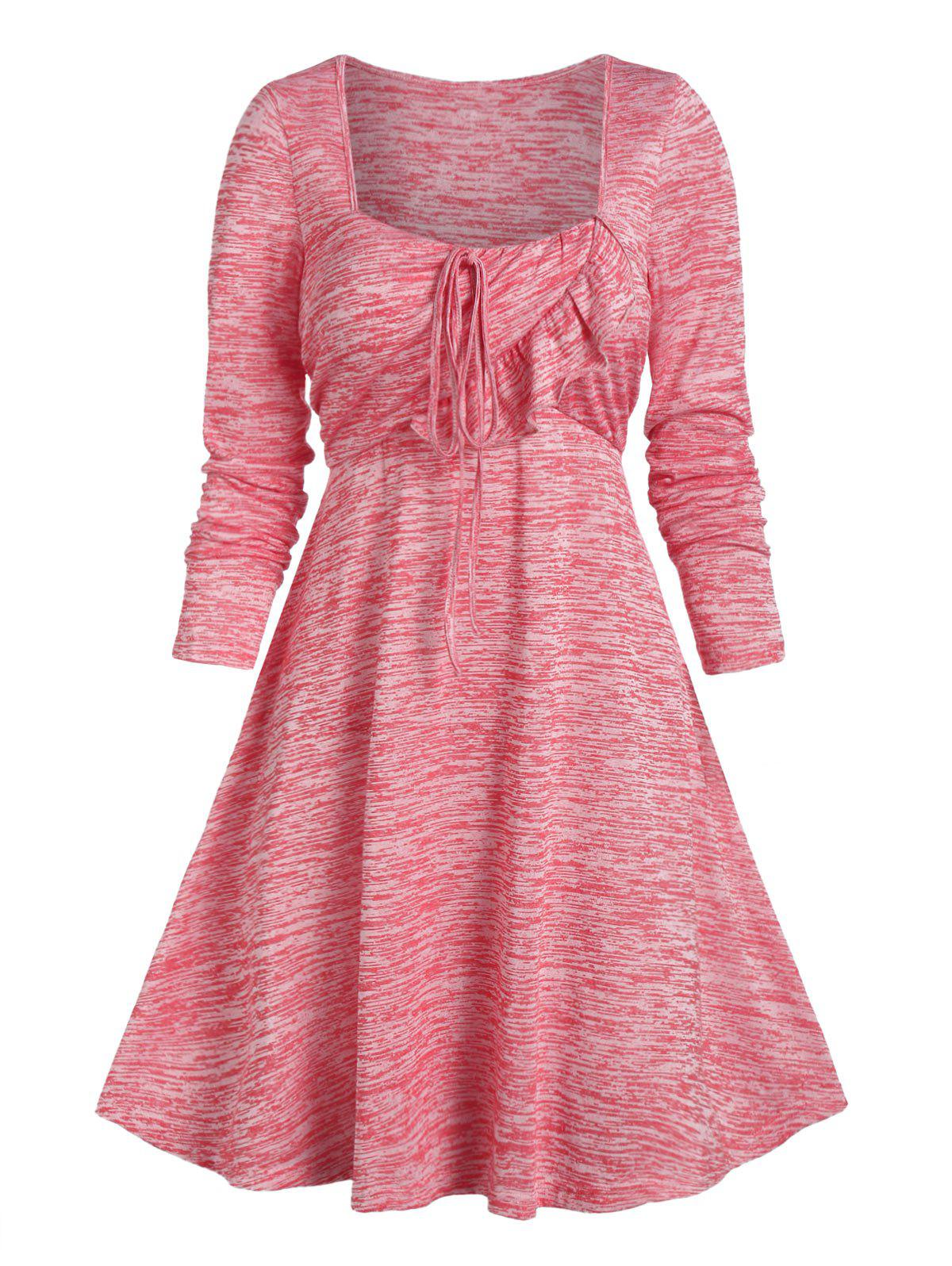 Store Space Dye Ruffle String Square Neck A Line Dress