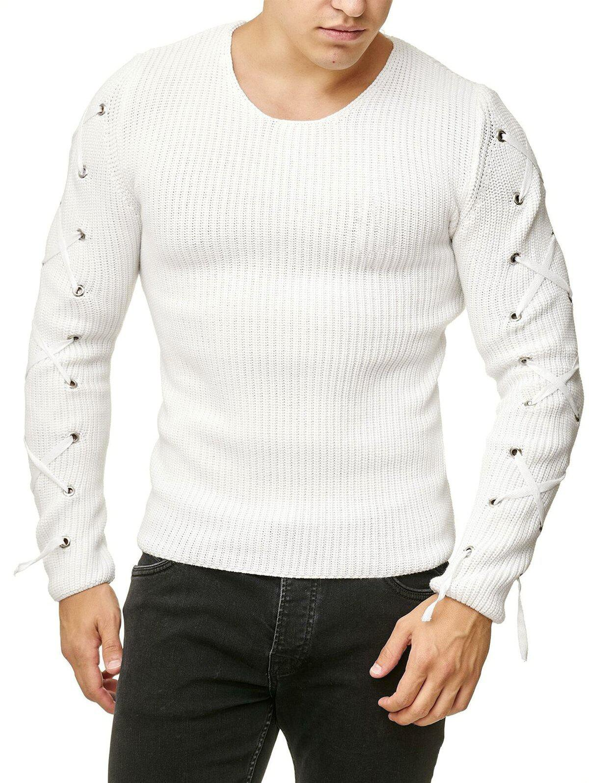 Online Lace Up Solid Color Pullover Sweater