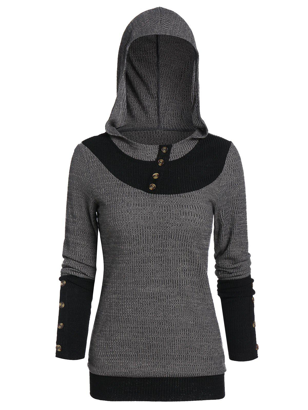 Outfits Button Embellished Hooded Contrast Ribbed Knitwear