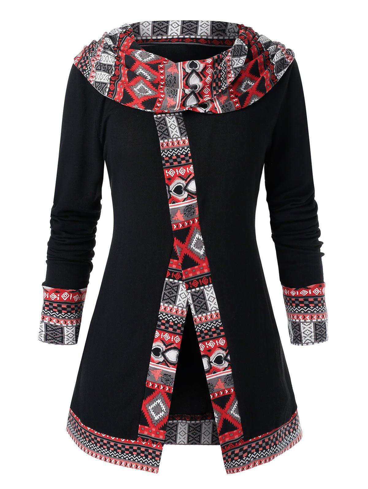 Latest Plus Size Cowl Collar Ethnic Pattern Top