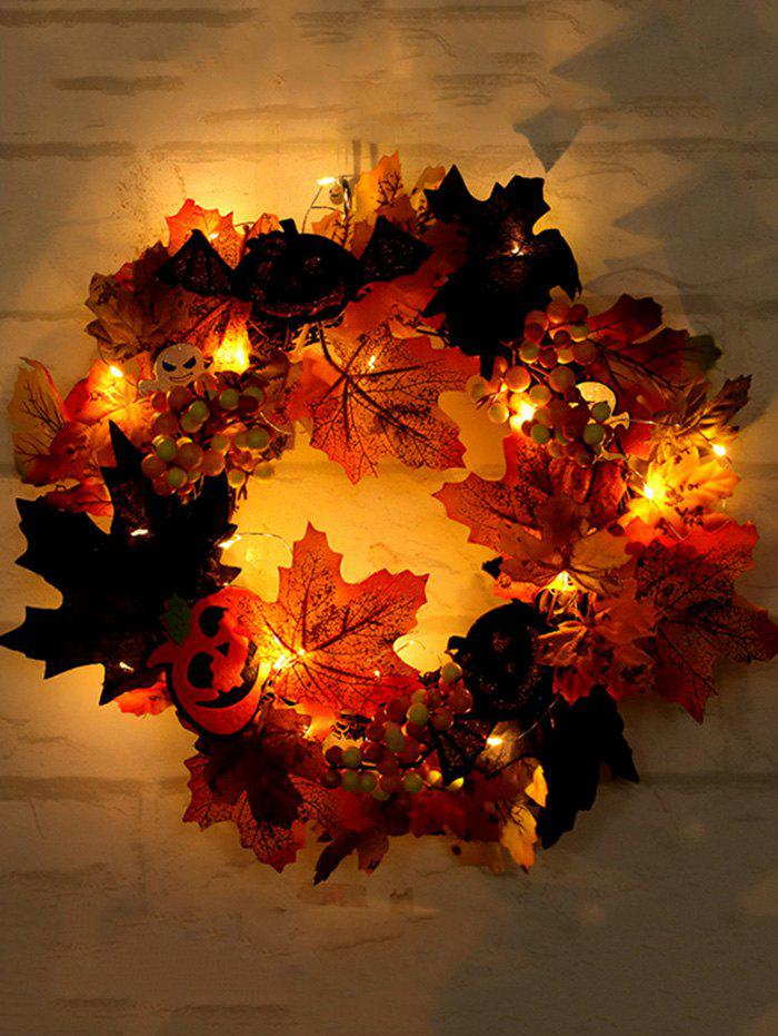 Unique Halloween Pumpkin Ghost Maple Leaf Wreath with Light