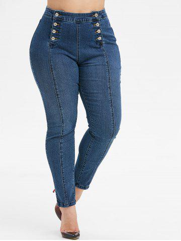 Plus Size Double Breasted Skinny Jeans