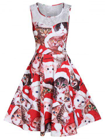 Cat Print Lace Panel Fit And Flare Dress