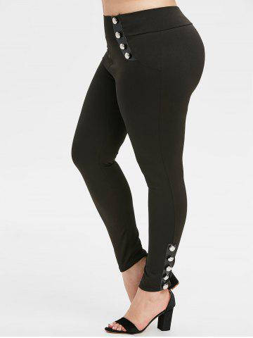 Plus Size High Rise Buttoned Skinny Pants