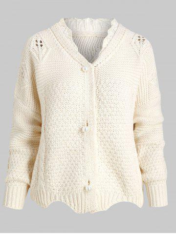 Chunky Cable Knit Scalloped Oversized Cardigan