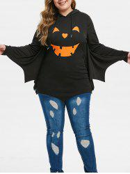 Plus Size Two Tone Batwing Sleeve Tunic Hoodie -