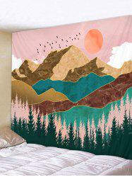 Fly Bird Mountain Sun Pattern Tapestry -