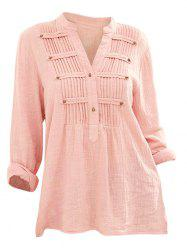 Pleated Buttons Long Sleeve Blouse -
