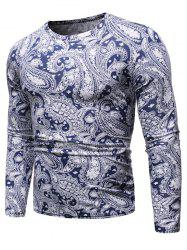 Ethnic Paisley Pattern Round Neck Sweater -