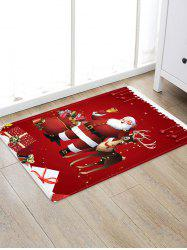 Christmas Santa Claus Deer Pattern Print Flannel Floor Mat -