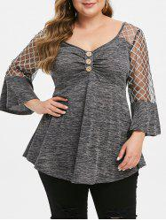 Buttoned Lace Panel Space Dye Plus Size Top -