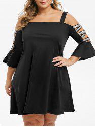 Metallic Threads Glittery Cold Shoulder Plus Size Dress -
