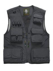Multi Pocket Front Zip Cargo Vest -