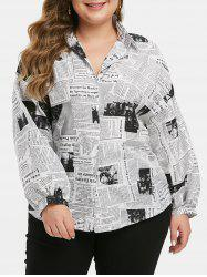 Plus Size Lantern Sleeve Newspaper Print Shirt -