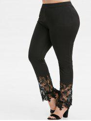 Plus Size High Rise Lace Panel Pants -