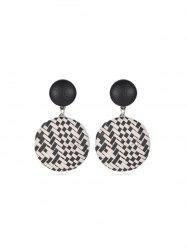 Bohemian Straw Woven Round Button Earrings -