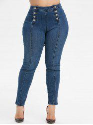 Plus Size Double Breasted Skinny Jeans -