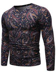 Paisley Pattern Round Neck Pullover Sweater -