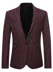 Stripes Flap Pocket Back Split Casual Blazer -