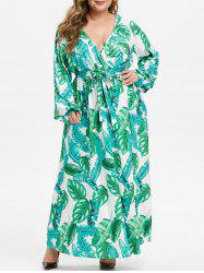 Long Sleeve Belted Leaves Print Plus Size Maxi Dress -