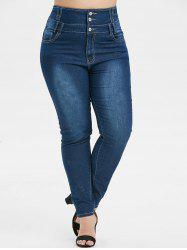 Plus Size High Rise Button Fly Skinny Jeans -