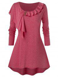 Plus Size High Low Ruffle T Shirt -