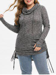 Plus Size Cowl Neck Cinched High Low Marled Knitwear -