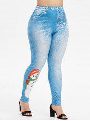 Plus Size Christmas Snowman Print Skinny 3D Jeggings -