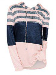 Plus Size Mixed Media Colorblock Longline Hoodie -