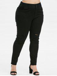 Plus Size High Waisted Ripped Skinny Jeans -
