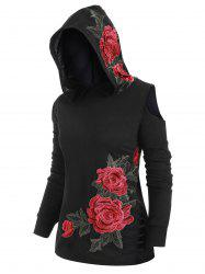 Plus Size Open Shoulder Embroidery Ripped Hoodie -
