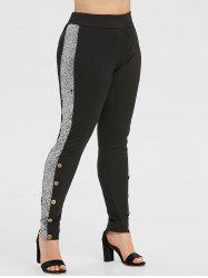 Plus Size High Waist Sequins Skinny Pants -